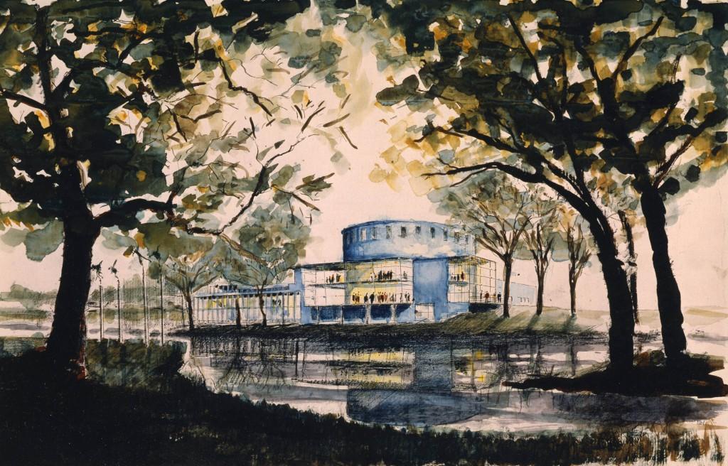 Teckning av Gävle konserthus.