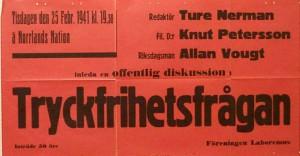 Tryckfrihetsfrågan, diskussion med inledning av Ture Nerman, Allan Vougt och Knut Pettersson