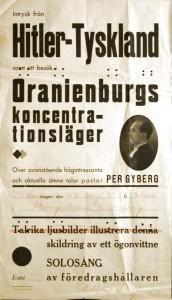"""Affisch nr C1031, """"Intryck från Hitler-Tyskland samt besök i Oranienburgs koncentrationsläger..."""", Enköpings socialdemokratiska arbetarekommun (?), Folkrörelsearkivet för Uppsala län."""