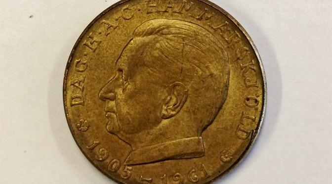 Minnesmynt föreställande Dag Hammarskjöld.