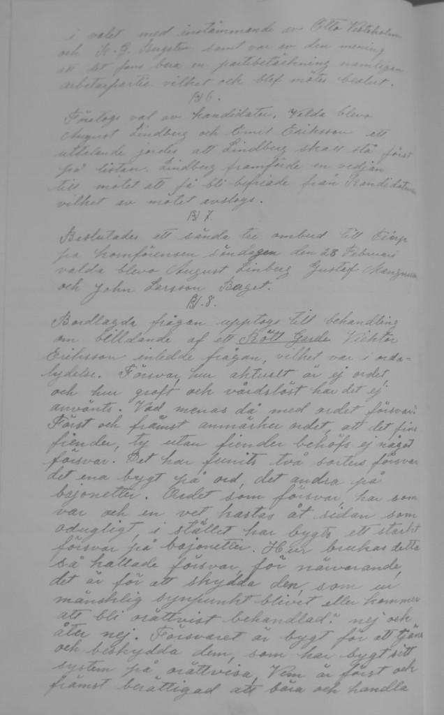 Protokoll 21 februari 1919, § 8, Protokoll fört vid mötet med Skutskärs Socialdemokratiska vänsterkommun, Folkets hus.