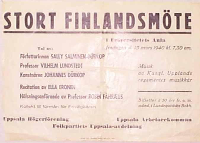 Stort Finlandsmöte i Universitetets aula, 15 mars 1940, arrangemang av Uppsala socialdemokratiska arbetarekommun, Uppsala Högerförening och Folkpartiet Uppsala.