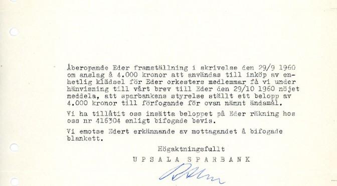 Handling ur Uppsala blåsorkesters arkiv.