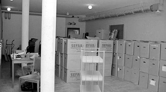 Folkrörelsearkivets depå i Uppsala missionskyrka. 1980-talet
